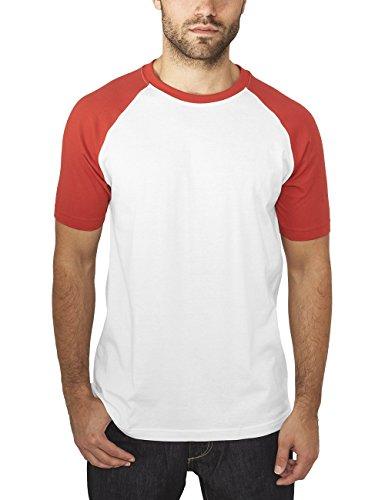 Urban Classics Herren T-Shirt Raglan Contrast Tee Mehrfarbig (Wht/Red 237)