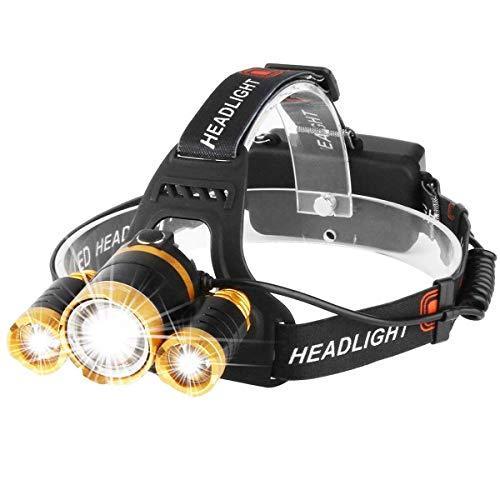 YAYUMD LED Stirnlampe, USB wiederaufladbare Wasserdichte Scheinwerfer einstellbare Fokus 4 Modi Scheinwerfer für Outdoor Camping Angeln Jagd Wandern Laufen Wandern Radfahren