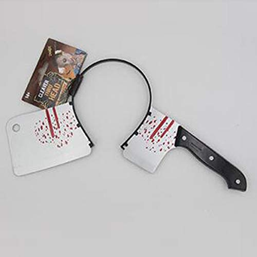 JohnJohnsen Halloween Dekoration Horror Messer Blutige Machete Halloween Party Supplies Haloween Stirnband Requisiten für Festival Dekoration (schwarz & Silber)