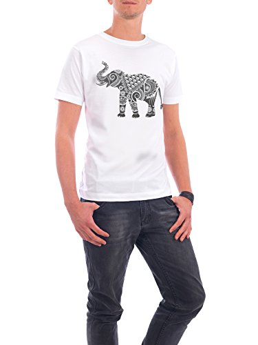 """Design T-Shirt Männer Continental Cotton """"Ornate Indian Elephant"""" - stylisches Shirt Tiere Kindermotive von Famenxt Weiß"""