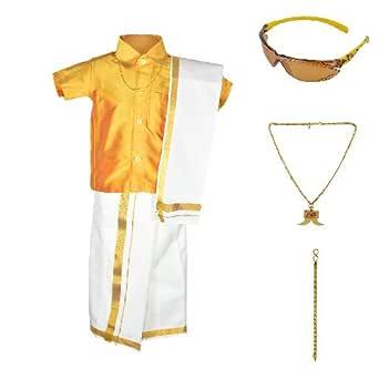 Amirtha Fashion Boys Traditional Dhoti & Shirts SET WITH ACCESSORIES (AMFCMGD - $P)
