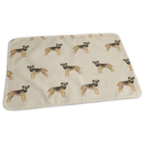 Border Terrier Fabric - Dog Dogs, Border Terriers, Tan, Baby Portable Reusable Changing Pad Mat 19.7