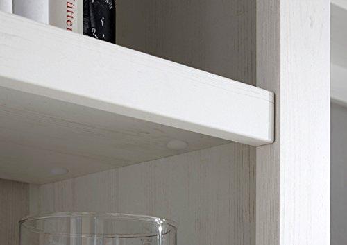 Wohnwand Anbauwand mit Highboard & Vitrine 440972 pinie weiß 4-teilig - 4