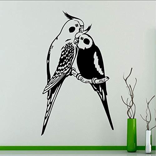 Hwhz 33X57 Cm Wandkunst Aufkleber Paare Papageien Exotische Vögel Vinyl Aufkleber Home Interior Wandkunst Dekor Raumdekoration