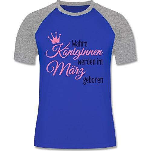 Geburtstag - Wahre Königinnen werden im März geboren - zweifarbiges  Baseballshirt für Männer Royalblau/Grau