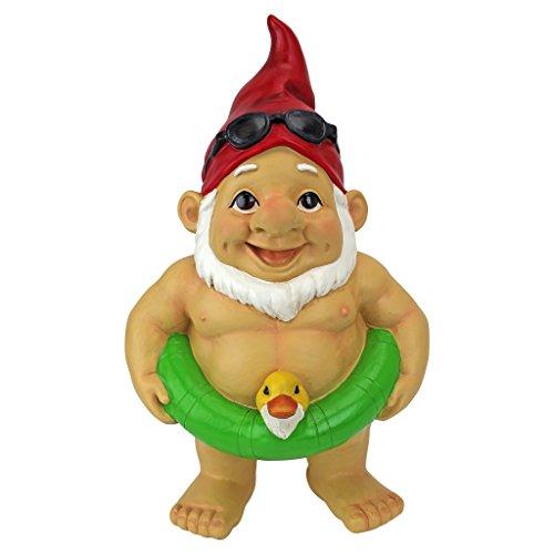Garten Gnome-dekor (Gartenzwerg Statue - Pool-Party Pete Naked Gnome - Außengartenzwerge - Lustiges Rasen Gnome Statuen)