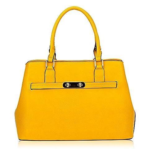 Women's Ladies Designer Tote Bucket Bag - 'Nancy' Handbag (Yellow)