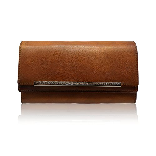 LETEULO Mujeres billetera multi tarjeta organizador billetera dama cuero genuino embrague monedero (Marrón)