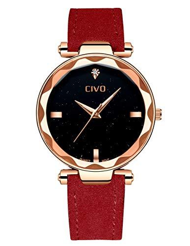 CIVO Montres Femme Noir Rouge Luxe Mode Ladies Fille Montre...