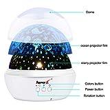 Projektor Lampe, AsperX Nachtlicht Kind Nachttischlampe Ozean Projektor & Sterne Nachtlicht 360° Grad Rotation mit 8 Farben Neuer Typ Sternenhimmel Projektor zum Schlafen Entspannen (White-A) - 5