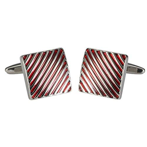 LINDENMANN Manschettenknöpfe, silberfarben, Lack rot, poliert, Linien Design, Geschenketui, 10677