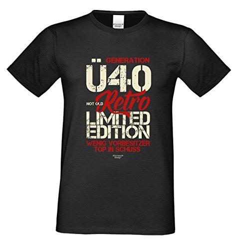 Niveuvolles Designer Sprüche-Shirt als Top Geschenke-Idee für alle Menschen mit Stil Motiv: Generation Ü40 Farbe: schwarz Schwarz