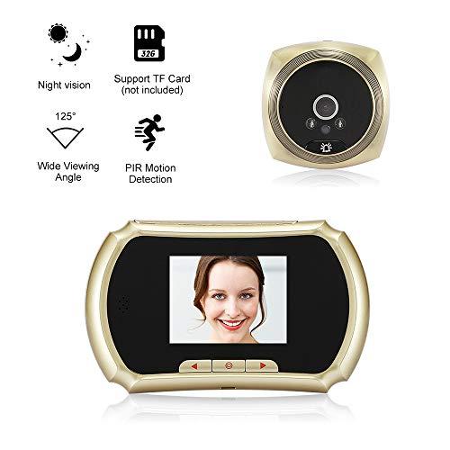OWSOO 1.3MP Mirilla Digital con Pulgadas Pantalla LCD Soporte Toma de Fotos, Grabación de Vídeo para Seguridad del Hogar, Oro