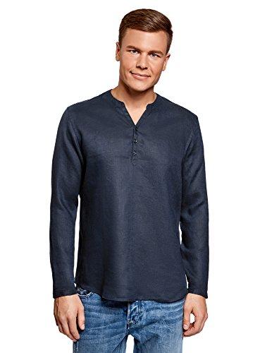 oodji Ultra Herren Kragenloses Leinenhemd, Blau, Herstellergröße 42,5 (Kragenweite 42,5 cm)/ DE 52-54 / L - Trennen Sie Griff