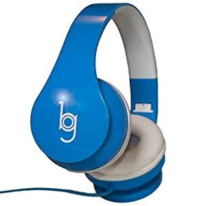 Glow Headphones with Microphone from Bryte Gear - Blue - Glow in the dark designer Headset for Sports, Music and Gaming. Compatible with iPhone and Android