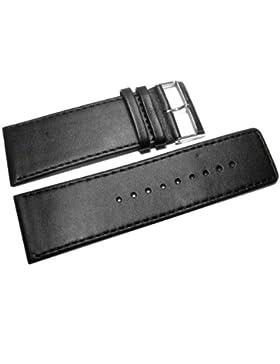 Uhrenarmband - Watchband Berlin - echtes Leder - Glatt - schwarz - schwarze Naht - 30mm
