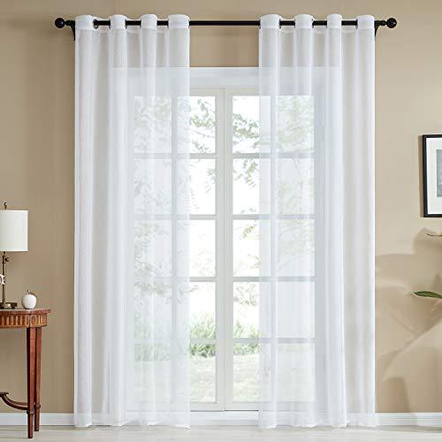 TOP Marques Collectibles Top Finel 2 Stück Transparent Voile Gardinen Wohnzimmer Vorhänge mit ösen,140 x 245 cm,Weiß