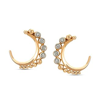 Mia by Tanishq 14KT Yellow Gold and Diamond Stud Earrings for Women