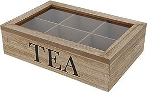 Boîte à thé style rétro en bois avec 6compartiments