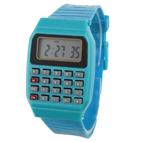 Mode Uhrenarmband, ICHQ Unsex Junge Mädchen Digitaluhr Silikon Mehrzweck Datum Zeit Elektronische Handgelenk Taschenrechner Uhr (Blau)