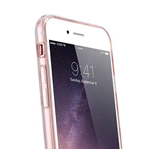 Phone Kandy® Côtés transparent TPU Silicone Gel Bling Glitter Cover Case cas coque (iPhone 6 6s (4.7 pouce), étoiles d'argent) coeurs d'or