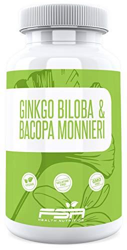 Ginkgo Biloba 75 mg und Bacopa Monnieri 500 mg Extrakt (55{75efe619274a964a1e01044bf4bb8b1dac68598df8e13a0c7c7d3d530b26081b} Bacoside), 90 vegane Kapseln von der Profisport Marke FSA Nutrition®