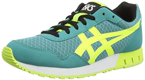 Asics Curreo, Damen Sneakers Blau (latigo bay/safety yellow 8907)