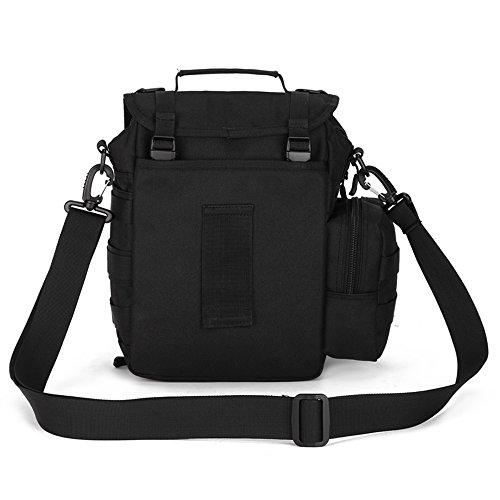 FlyHawk Taktisch Molle Beutel Umhängetasche Outdoor Kamera Tasche Daypack Handtasche Schultertasche K307-Schwarz
