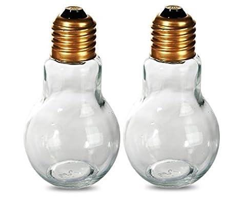Novelty Light Bulb Salt & Pepper Shaker ~ Screw Cap Lid ~ Thumbs Up! Great Gift Idea for Birthdays, Christmas, Secret Santa, Mothers/Fathers Day