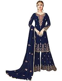 ETHNIC EMPORIUM Blue Indiano Pakistano Sharara Salwar Kameez Donne  Musulmane Designer Abito da Sposa 7129 7a2ff42dfd6
