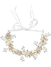 Joyería nupcial, venda del pelo de la perla de la flor de la aleación, accesorios hechos a mano del tocado de la boda del diamante artificial
