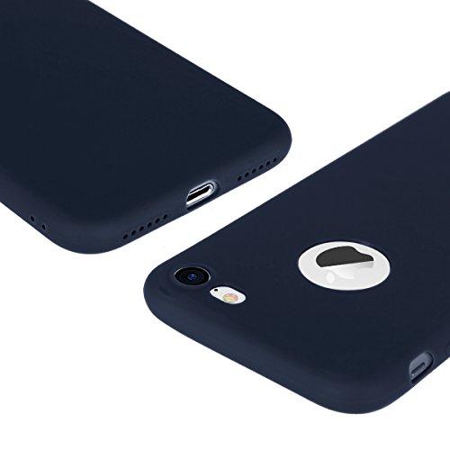 iPhone 7 8 Hülle Rosa TPU Silikon Handy Schutzhülle Handytasche Schutz Cover Case Schale Etui Weich Flexible Ultra Dünn Matt Kratzfeste Tasche Verschiedene Farben Blau