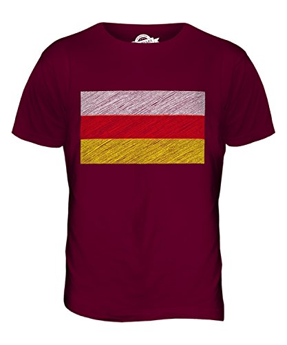CandyMix Nordossetien-Alanien Kritzelte Flagge Herren T Shirt Burgunderrot