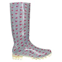 P410 GREY WITH CERISE HEARTS LADIES WOMENS GIRLS WELLIES RAIN BOOTS SIZES 3 4 5 6 6.5 7 V FESTIVAL READING (UK 4)