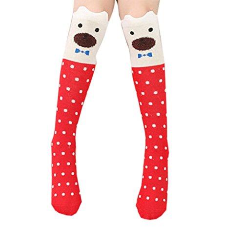 Fami Ragazza dei bambini del modello animale ginocchio alto calzini svegli (rosso)