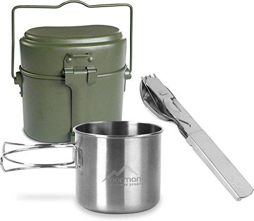 normani Essgeschirrset Bundeswehr Kochgeschirr + BW-Besteck mit Flaschen- und Dosenöffner + Edelstahltasse mit Klappgriffen 500 ml - rostfreier 18/8 Stahl