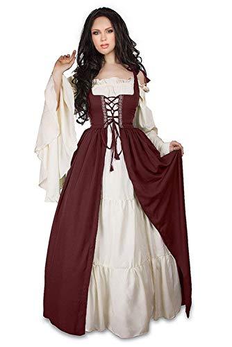 Smileshop Damen Renaissance Mittelalter Kleid mit Trompetenärmel und Schnürung, Langarm U-Ausschnitt Viktorianischen kostüm Prinzessin Bodenlanges Kleid XXL