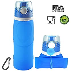 ieGeek Botella Plegable de Silicona de Alimentos para Deporte para Aire Libre, Azul