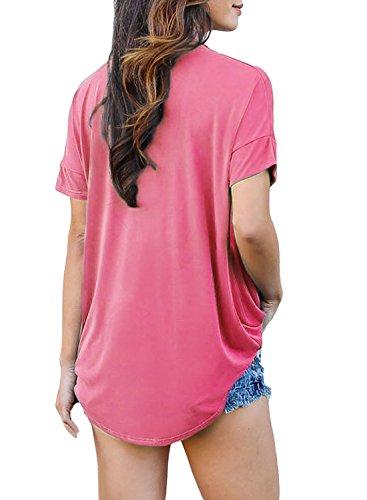 ACHICGIRL Women's Choker Neck V Cut Drape Loose Fit Top pink