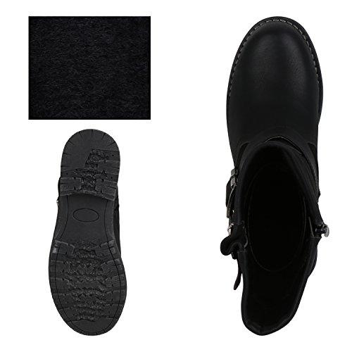 napoli-fashion Damen Stiefeletten Stiefel Biker Boots Nieten Warm Gefüttert Schuhe Jennika Schwarz Schnallen Black Nero Noir