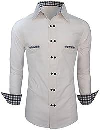 Luxe élégant hommes occasionnels mince amincissent les belles chemises à carreaux Slim collection maillot de Fit