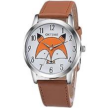Cute Creative Cartoon Little Fox Arabic Numerals Scale Men Women Boys Girls Wrist Watch, Light Brown