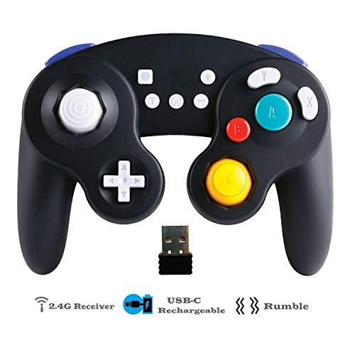 EXLENE Wireless Controller Gamepad für Nintendo Switch, Wiederaufladbar, Kompatibel mit PC/PS3, GameCube Stil, Motion controls, Rumble, Turbo (Schwarz) Reader Control