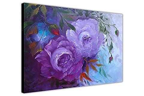 Violet Blossom fleurs imprimés sur toile encadrée mur art photos peinture huile Soyez sûr, Toile, violet, 05- A1 - 34