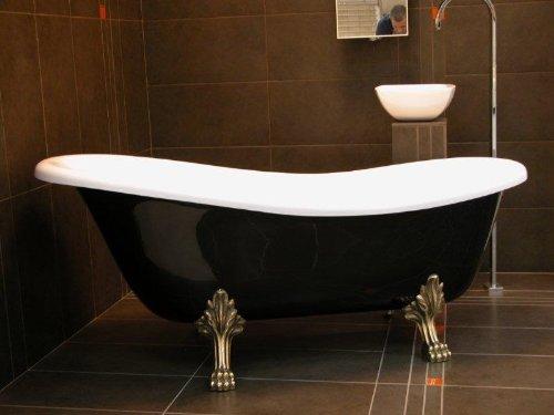 Casa Padrino Freistehende Luxus Badewanne Jugendstil Roma Schwarz/Weiß/Altgold 1470mm - Barock Antik Badezimmer