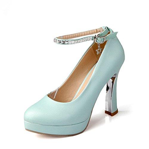 VogueZone009 Femme Pu Cuir Couleur Unie Boucle à Talon Haut Chaussures Légeres Bleu