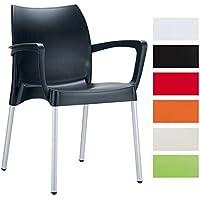 CLP Chaise empilable de qualité supérieure DOLCE / chaise de jardin, résistante à l´eau et aux rayons ultra-violets, capacité de charge max 160 kg noir