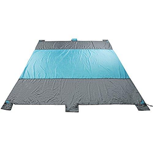 Strand Decke wasserfest Sand frei 201T Nylon Taft Stoff Ripstop KOMPAKT Outdoor Picknick Matte grau und blau 22,5x 6.89ft inkl. 4Metall-Heringe und 6Taschen (Baumwolle Tote Oversized)