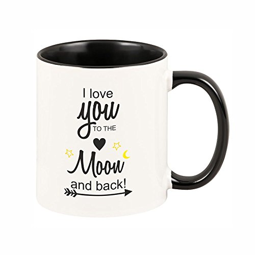 "Tasse ""I love you to the moon and back!"" (schwarze Tasse) Kaffeebecher Geschirr Geschenkidee – Weihnachtsgeschenk Geschenk Geburtstagsgeschenk ausgefallen originell"