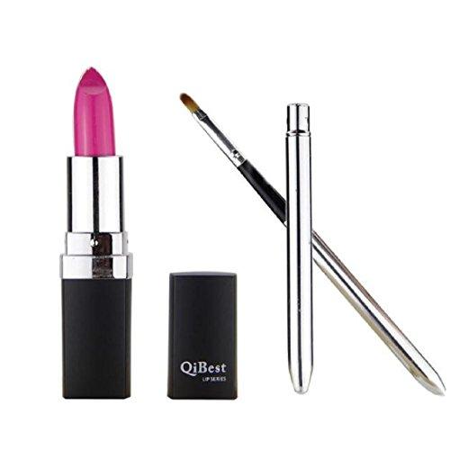 Vovotrade Mode étanche Liquid Makeup Lip Pencil Matte Lipstick Lip Gloss Super Long Lasting + Mini pinceau à lèvres (Rose Vif #11)
